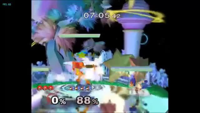 Bomb cancelled zair into nair into bomb nair double stage spike. From my new combo video.