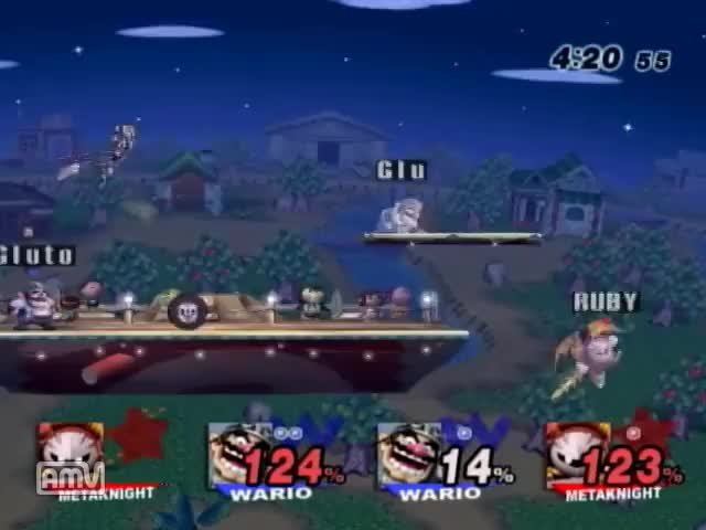 2 Warios 1 Metaknight