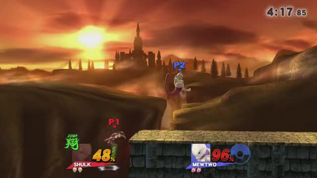 Shulk and Mewtwo meteor smash each other with dair at the same time