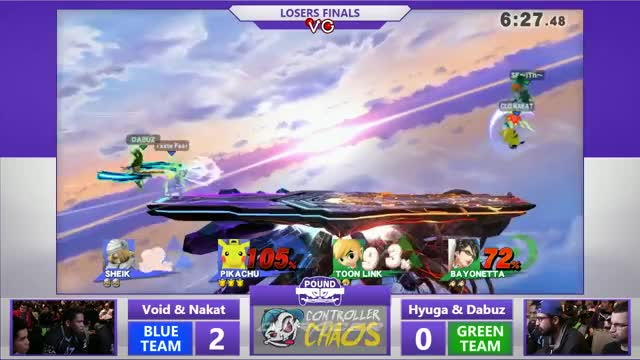 VoiD edgeguards Dabuz with a triple Bouncing Fish in Doubles