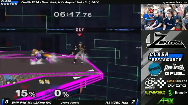 Mew2King with a HYPE 0 to death combo on Hax from Zenith 2014 – EMP P4K Mew2King vs VGBC Hax – Grand Finals – SSBM