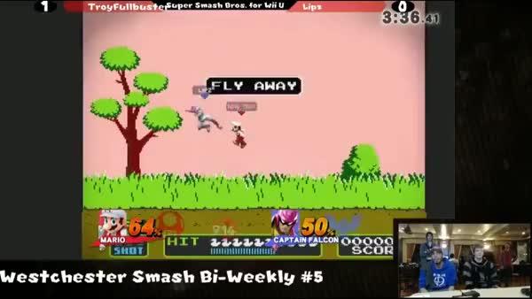 Using the Isai Smash 64 Mario combo on Captain falcon…in smash 4!