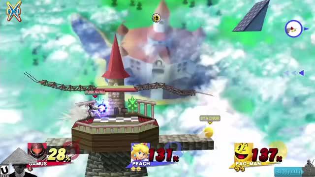 What happens when you shield break a Peach between a Samus and a Pac-Man?