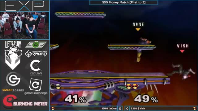 n0ne takes game 1 against Vish with a brutal double knee edgeguard