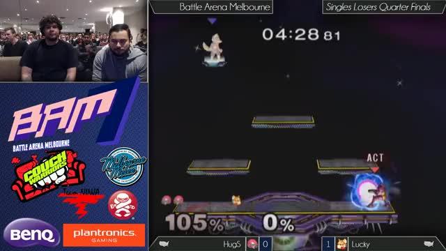 [BAM7] Lucky's edgeguard vs Hugs