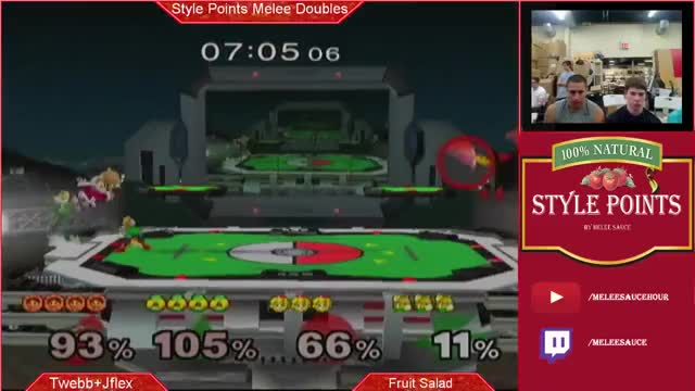 double up air to KO Red Team of the top of Pokemon stadium on the same frame