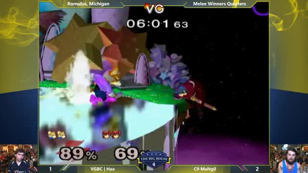 Older clip, but Mango's Marth double spiking Hax.