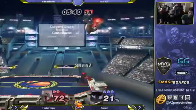 SNeeZ's fusion of Brawl item play and Melee movement causes ForteFreak to rage quit.