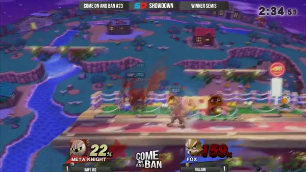 Villain's game winning custom Fox string that knocks Ito into losers