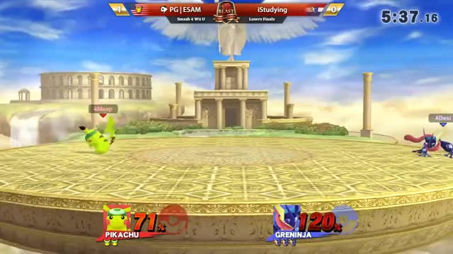 iStudying gets a kill off a stylish footstool punish that didn't quite reach the blastzone earlier in the same game.