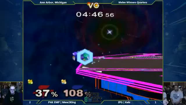 Mew2king and Kels died at the exact same time on the last stock, so the game ended in a tie. They played a 1-stock 3-minute match to break the tie and, well…