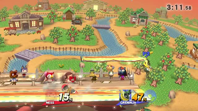 This is what happens when you collide Ness' bat with Greninja's Hydro Pump