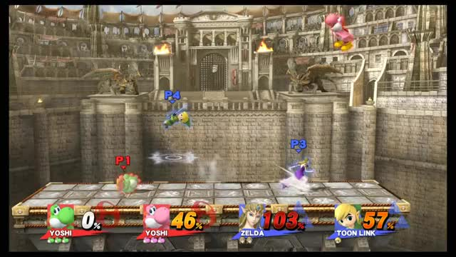 My friends and I found a visual 'glitch' with Yoshi's down-B.