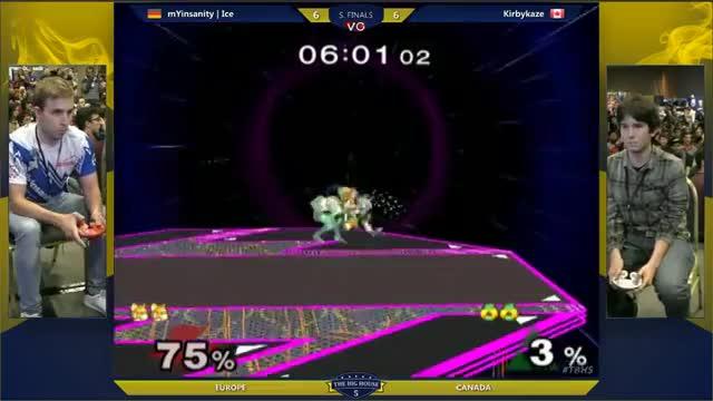 KirbyKaze with a ridiculous and creative edgeguard against Ice [Canada vs. Eurpoe]