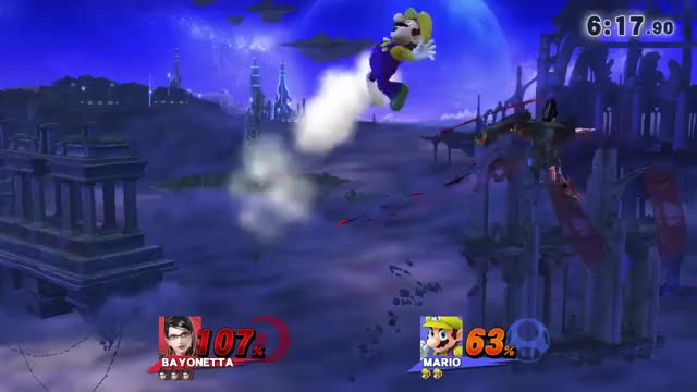 Bayonetta kills Mario off the top dealing 0%