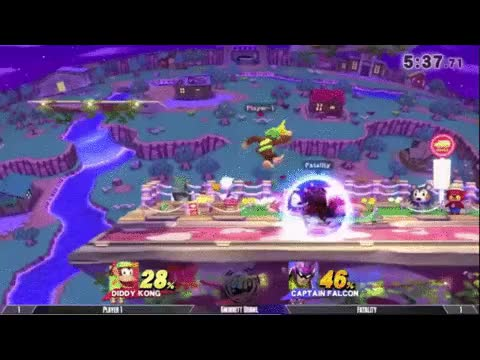 Fatality's Falcon combos Player-1's Diddy