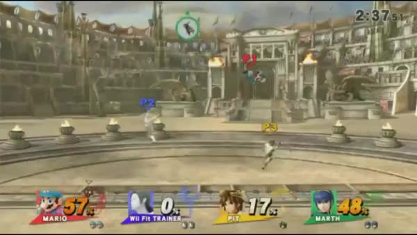 Not sure if SSB4 Marth's grab range is awful or Pit's shield is too big.