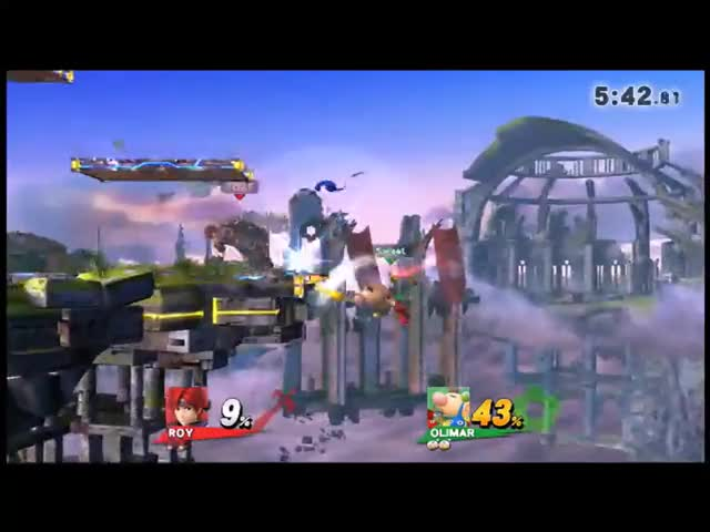 Toat's Roy with a nice shield break setup on Sweet's Olimar!