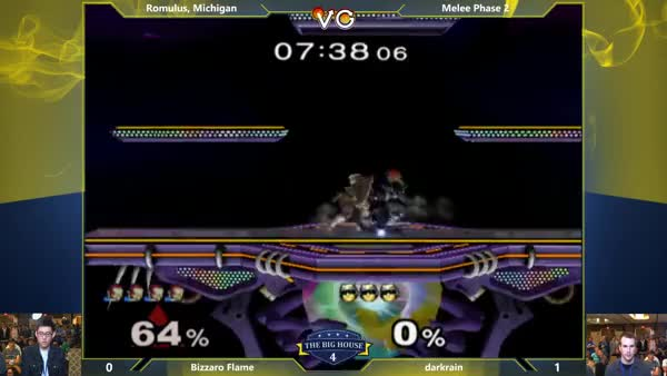 Bizzaro Flame's double up air spike to stomp