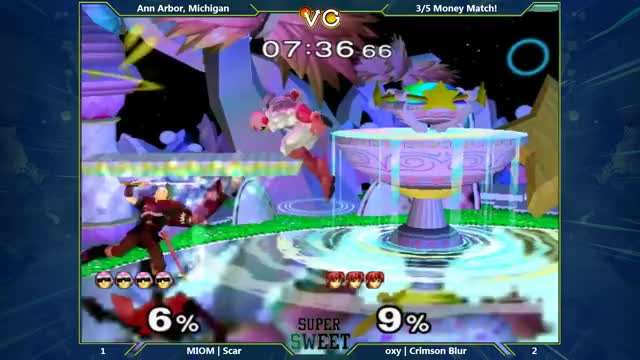 Scar with the NUTTY combo on The Crimson Buster 50$ MONEY MATCH – super SWEET – Oxy | Crimson Blur (Marth) Vs. MIOM | Scar (Captain Falcon) – SSBM – Melee