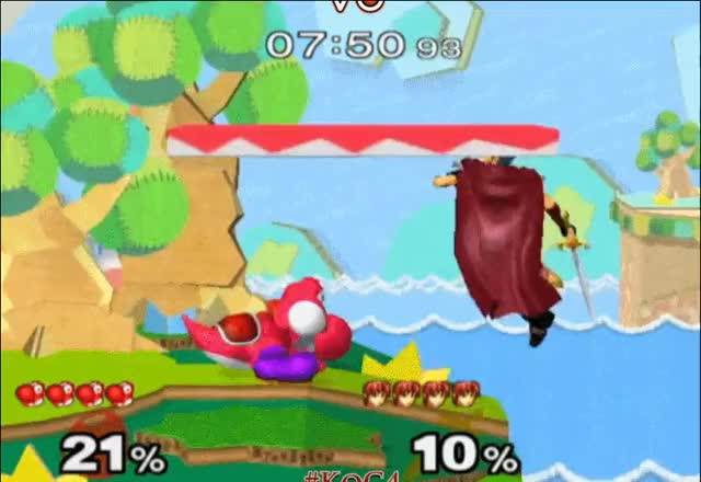 Ken Ken combos aMSa with a Ken Combo on Yoshi's Island and then wavedashes on the stage as celebration