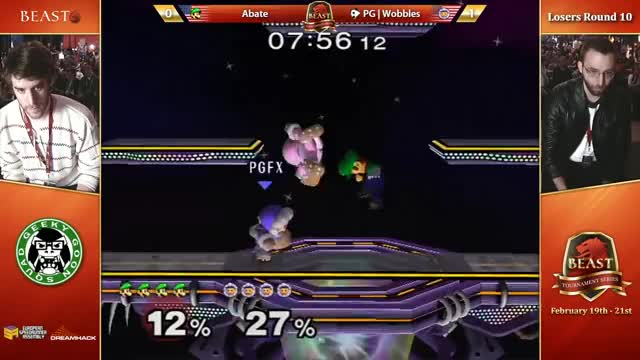 Abate combos Wobbles to death, finishes with a jab-pivot-upB