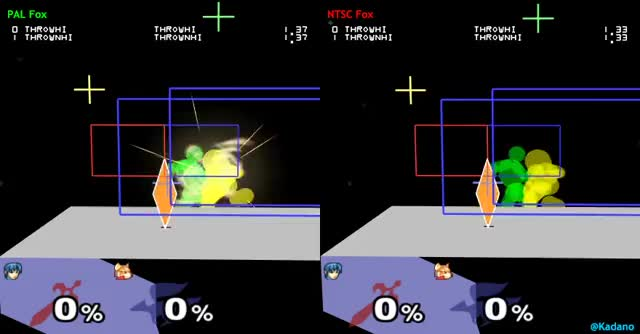 Marth can chaingrab Fox from 0% in NTSC, but not in PAL if Fox DI's behind. (It starts working at 1%.) (The cause is a lower release point due to Fox' weight difference.)