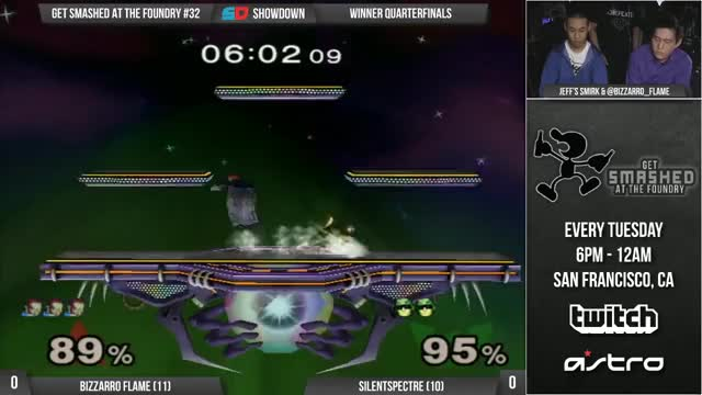 Bizzarro Flame admires Jeff's double F-smash at the Foundry