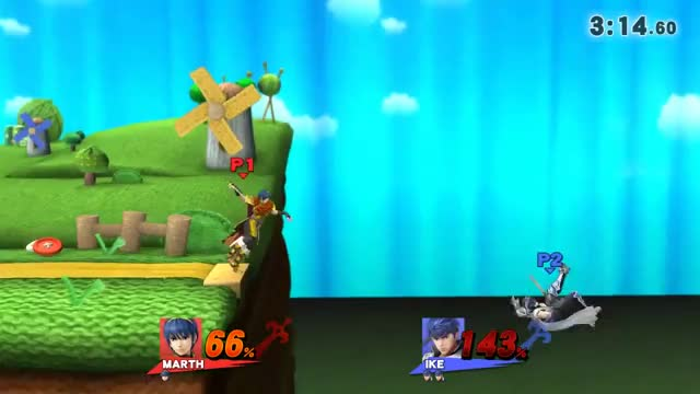 Marth patiently edge guards Ike with a 0 to Death