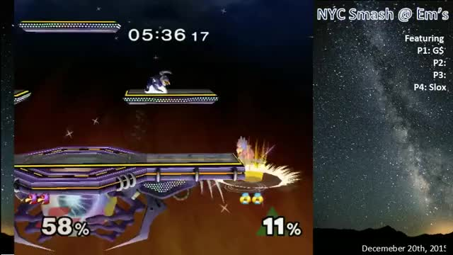 Slox showing off his stylish Sheik (with bonus up+b kill!)