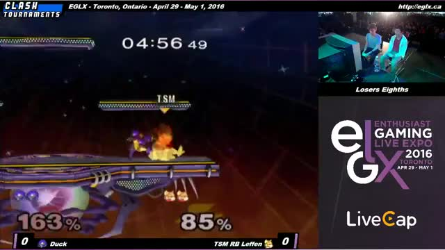 Duck edgeguard on Leffen at EGLX