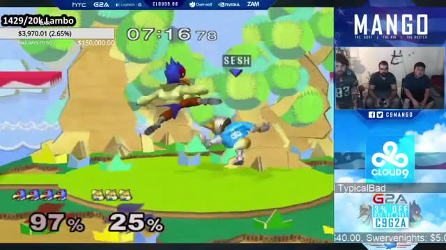 Mango's Falco combo with some nice uairs