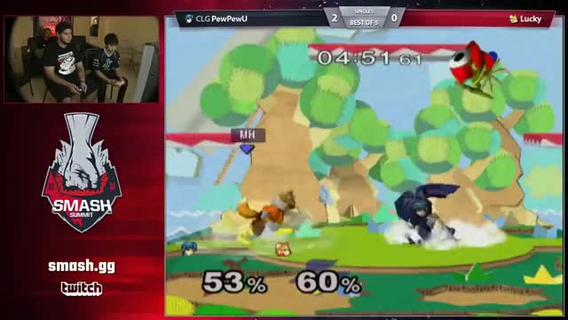 PewPewU and Lucky in a chaotic scramble offstage