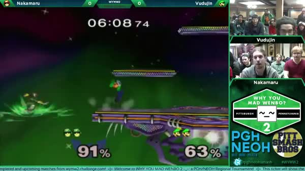 Vudujin gets himself in an edgeguard situation.
