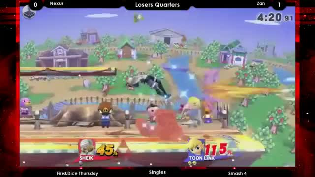 Sheik gets rekt trying to edge guard Toon Link