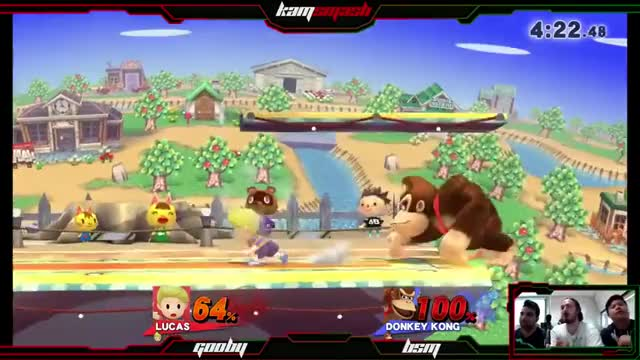 DK gets a B-air offstage, then footstools off the stagespike