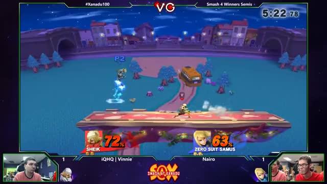 Nairo shielding a grenade mid-combo [Xanadu 100 – Vinnie vs Nairo Winners Semis]