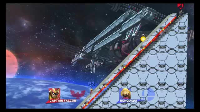 C. Falcon's multi-jab lets him move down steps in stage builder without taking damage from lava above.