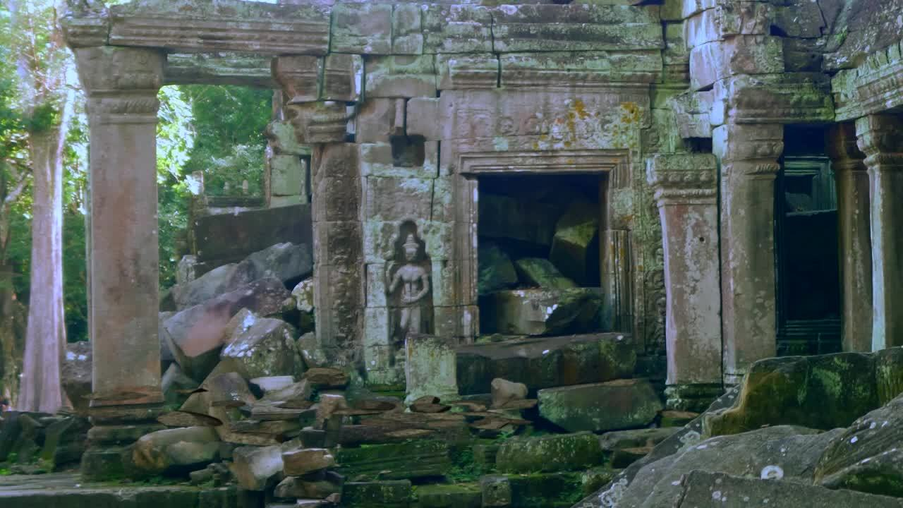 image of ruined temple of Ta Prohm in Cambodia as the background for the Man Machine Fairy Tale by SpareTag.com