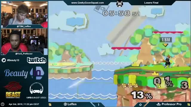 Leffen with the wall-jump recovery to shine spike at Beauty 10