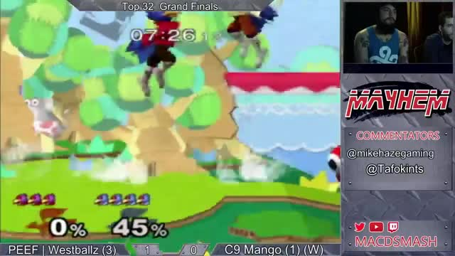 Westballz edgeguards Mango with the single hit a Falco's up air. He then comboes it into a reverse dair spike