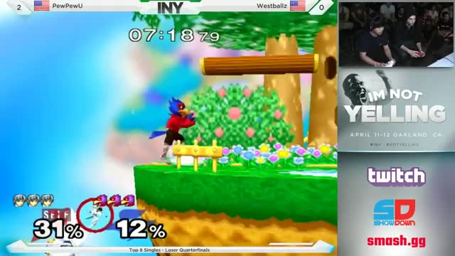 Westballz uses a laser to extend his combo