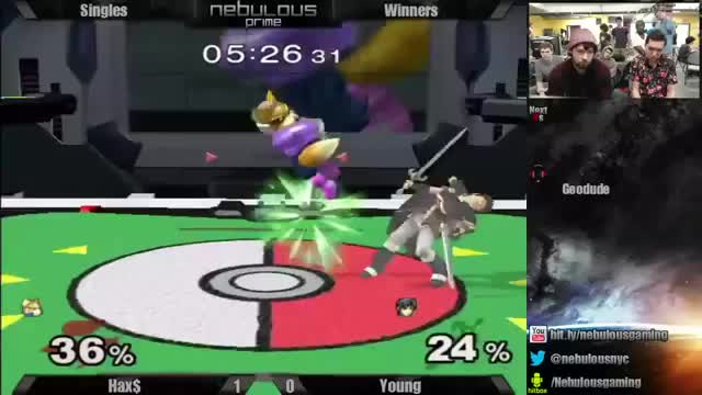 Hax with the flowchart edgeguard on Marth