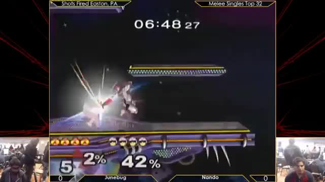 Nando platforms cancels up air to setup knee against Junebug