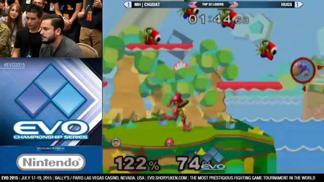 Chu Dat beautifully outspaces Samus's nair with a Squall Hammer fade back – Chu Dat vs. Hugs (EVO 2015)