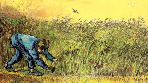 van gogh animation of van gogh wheat field and reaper