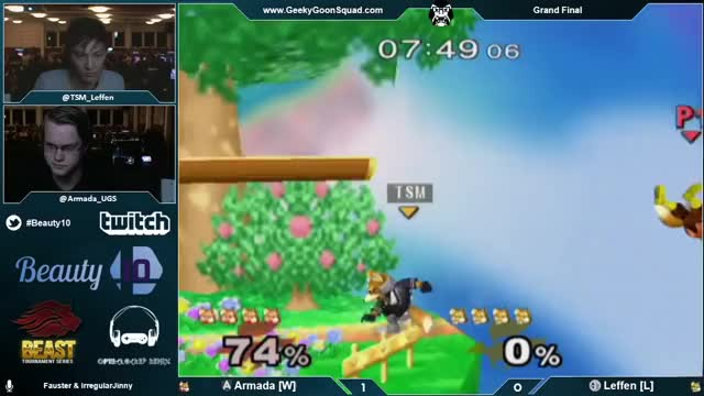 Leffen using shine turnaround bair to edgeguard Armada – Beauty10 – [A]rmada (Fox) Vs. TSM | Leffen (Fox) – Grand Final – Melee Singles