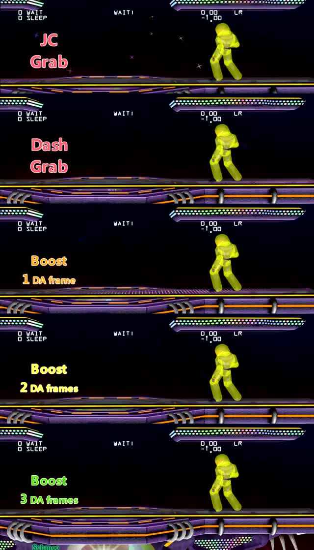 Sheik JC, Dash and BoostGrab Comparison (image version in comments)