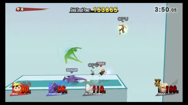 Charizard side b to Ness back throw team combo in All Stars.