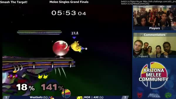 Axe using Pikachu's F-air to steal a stock from Westballz